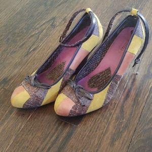 Kenzie plaid wedge heels